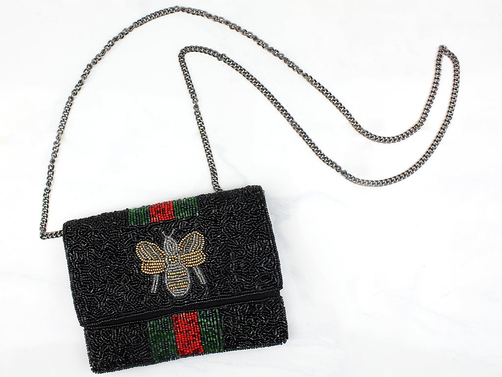 Black Beaded Bee Crossbody Purse - Kendry Collection Boutique