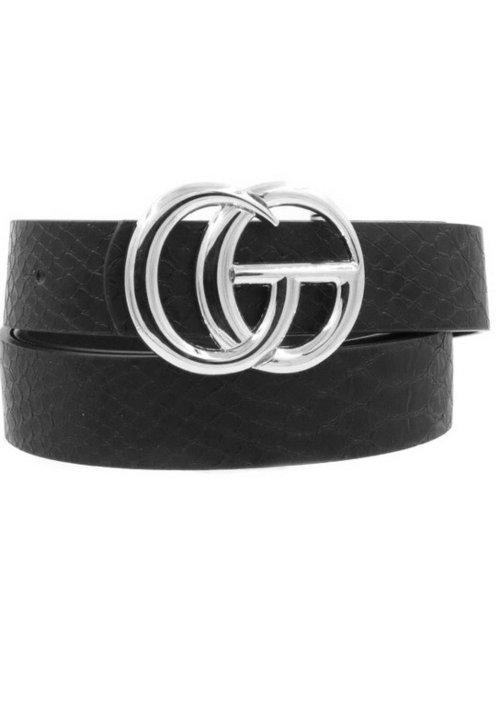 Black Croc Pattern GG Belt With Silver Buckle