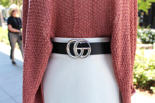 Black Faux Leather Belt, Silver GG Buckle - Shop Cute Accessories Online Now at Kendry Collection Boutique