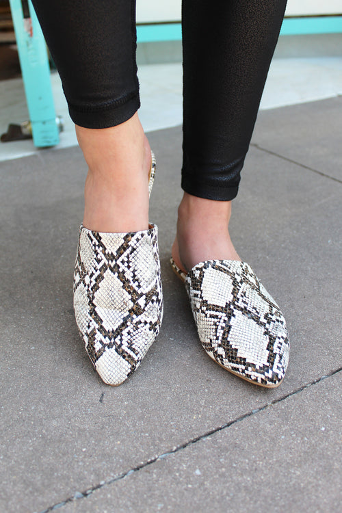 Snake Skin Faux Leather Slipper Shoes, Cute Fall Pointed Slides - Kendry Collection Boutique