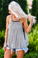 Black and White Beaded High Neck Tank Top - Kendry Collection Boutique