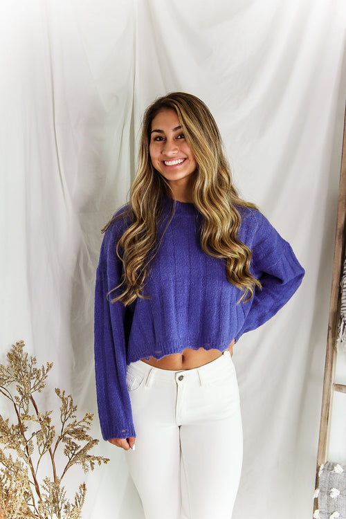 Blue Distressed Hem Ribbed Sweater - Shop Kendry Collection Boutique