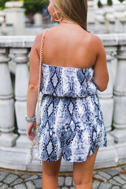 Blue Snake Skin Strapless Romper - Shop Cute Game Day Outfits Online At Kendry Collection Boutique