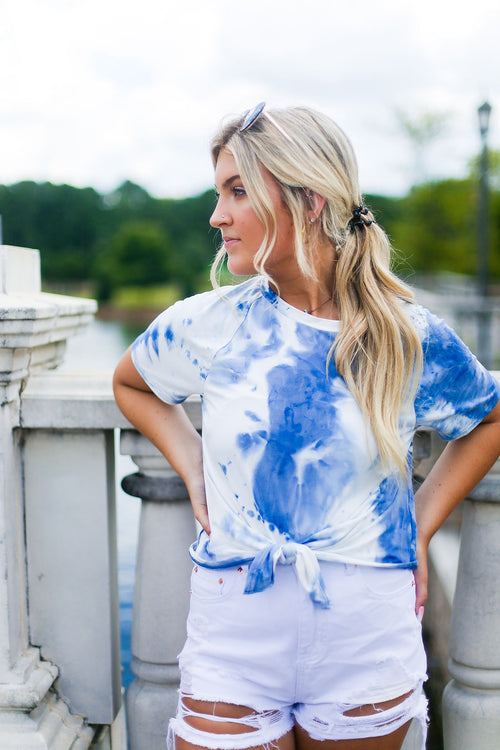 Blue Tie Dye Front Tie T-Shirt - Shop Kendry Collection Boutique