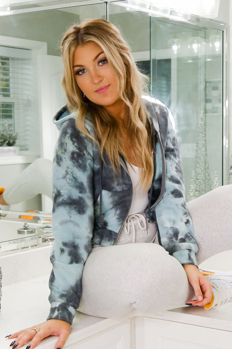 Blue Tie Dye Zip Up Jacket - Shop Kendry Collection Boutique