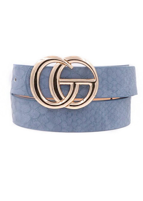 Blue Croc Pattern GG Belt With Gold Buckle - Kendry Collection Boutique