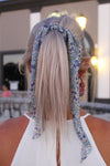 Blue Floral Hair Scarf Scrunchie - Kendry Collection Boutique