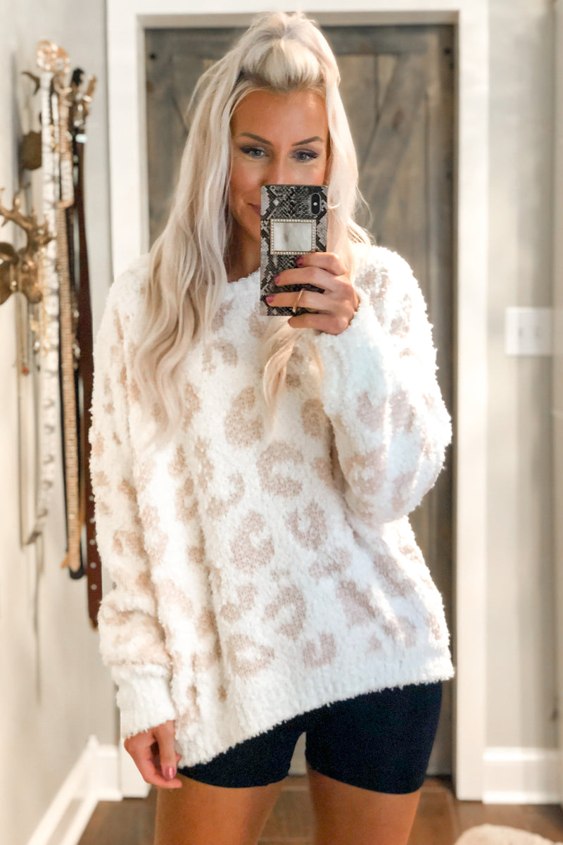 Blush Pink Leopard Fleece Pullover - Shop Cozy Loungewear Online At Kendry Collection Boutique