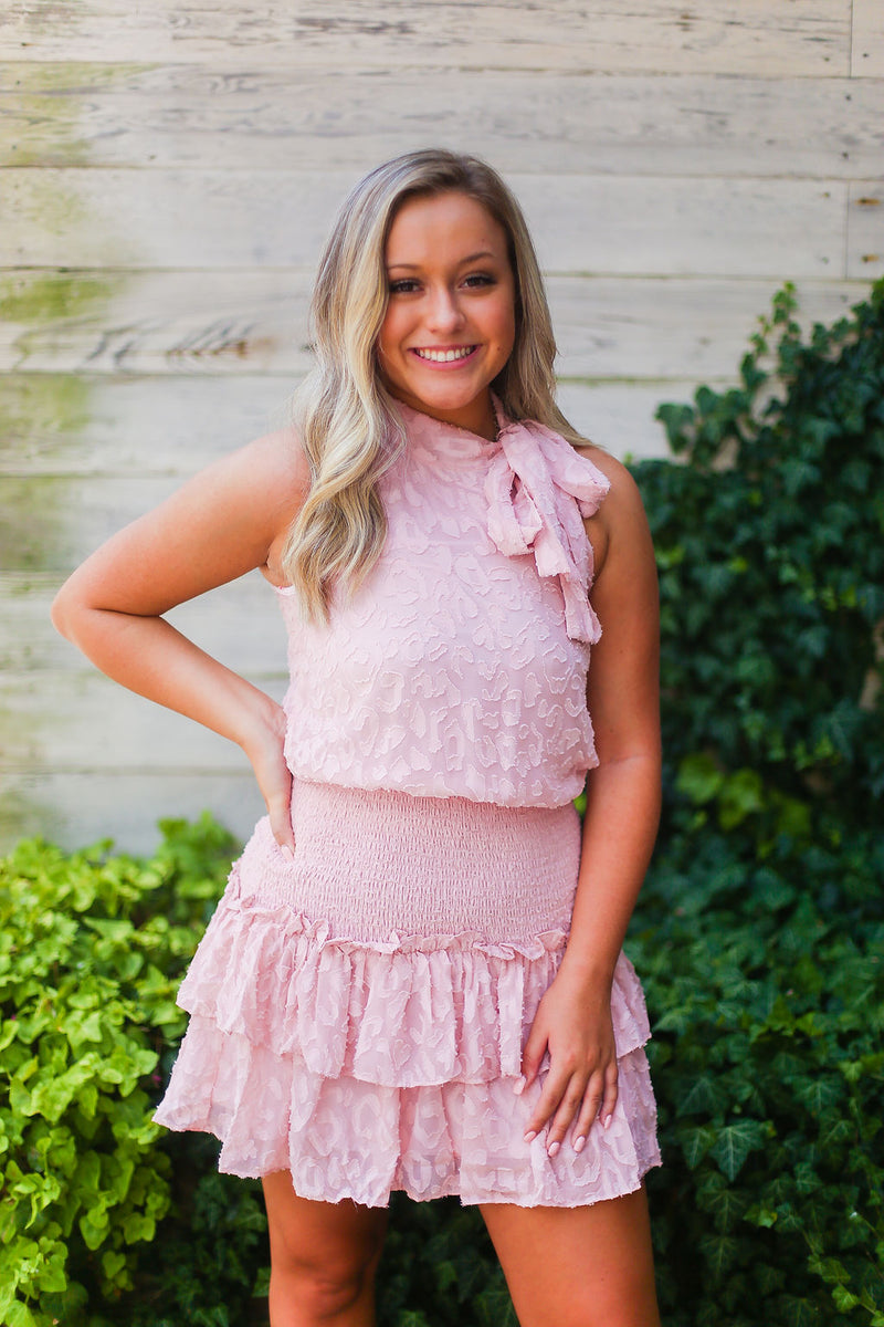 Blush Pink Smocked Ruffle Mock Neck Dress - Shop Cute Dresses Online At Kendry Collection Boutique