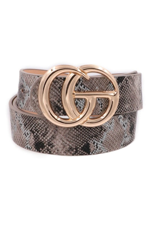 Brown Snakeskin Faux Leather G Belt - Kendry Collection Boutique