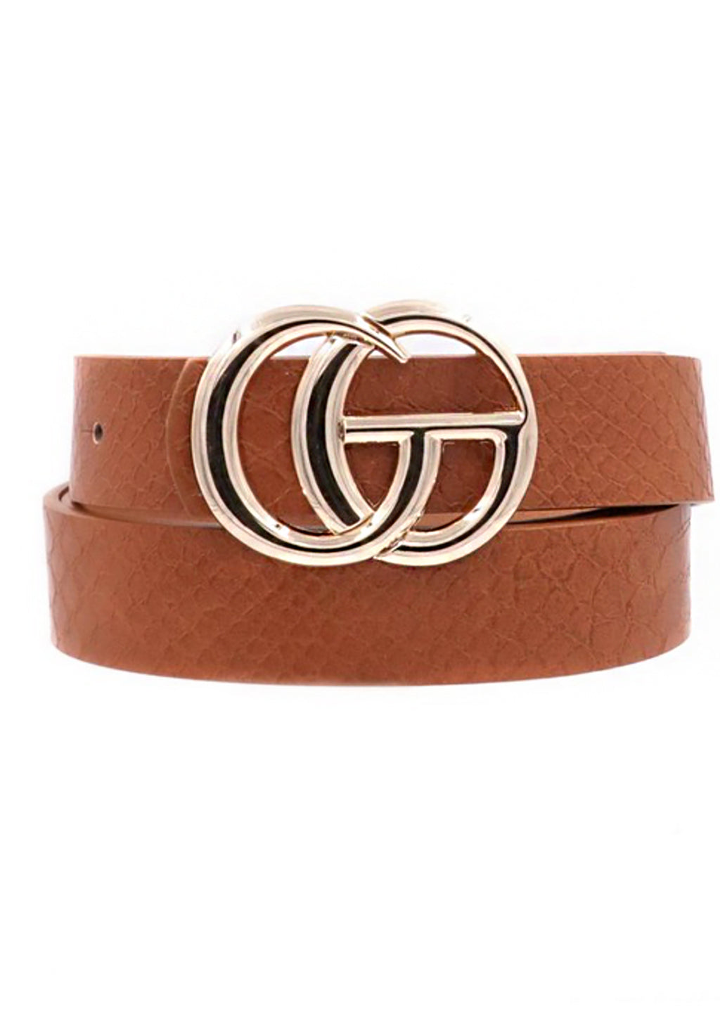 Brown Croc Pattern GG Belt With Gold Buckle - Kendry Collection Boutique