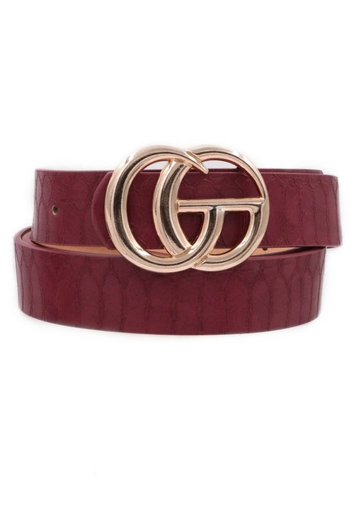 Croc Burgundy Faux Leather G Belt - Kendry Collection Boutique