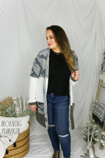 Camouflage Color Block Knit Cardigan - Kendry Collection Boutique