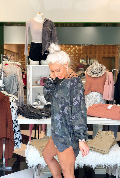 Camouflage Long Sleeve Waffle Top- Shop Kendry Collection Boutique