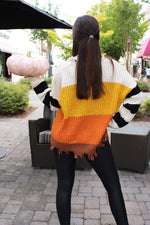 Candy Corn Babe Color Block Distressed Sweater