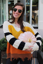 Candy Corn Babe Color Block Distressed Sweater - Kendry Collection Boutique