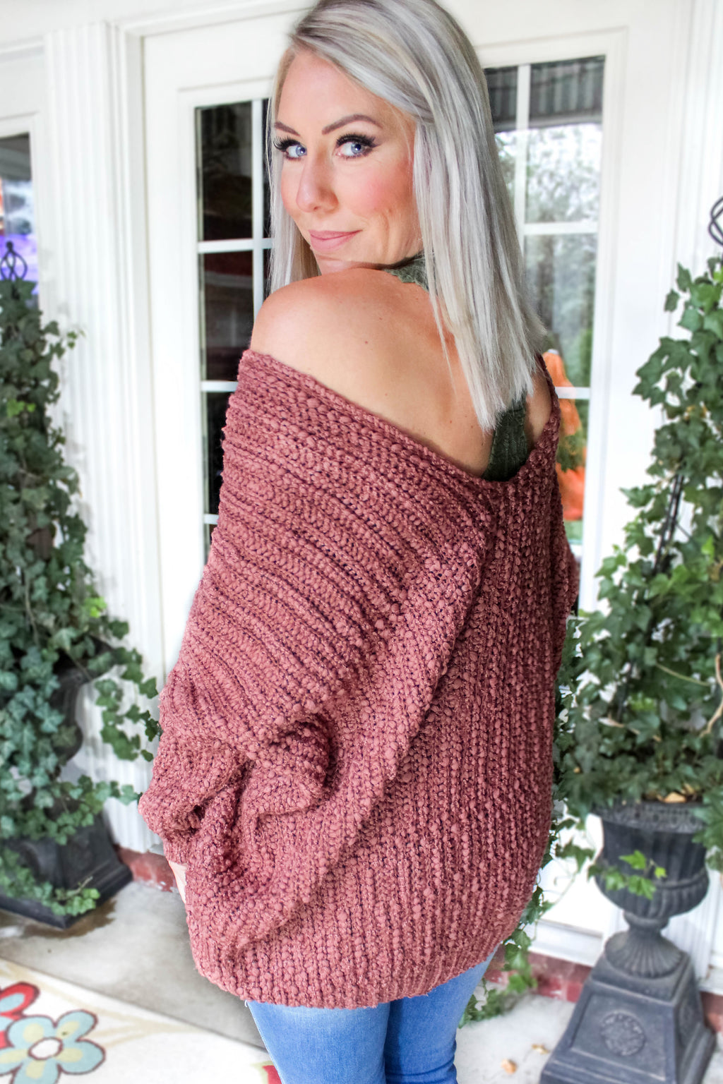 Changing Seasons Knit Popcorn Sweater In Brick