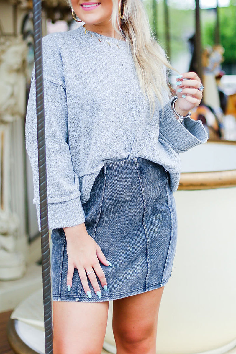 Black Acid Wash Denim Mini Skirt