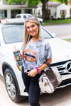 Charcoal Tie Dye Sequin Lips Crop Tee - Kendry Collection Boutique
