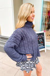 Charcoal Cable Knit Turtle Neck Sweater - Kendry Collection Boutique