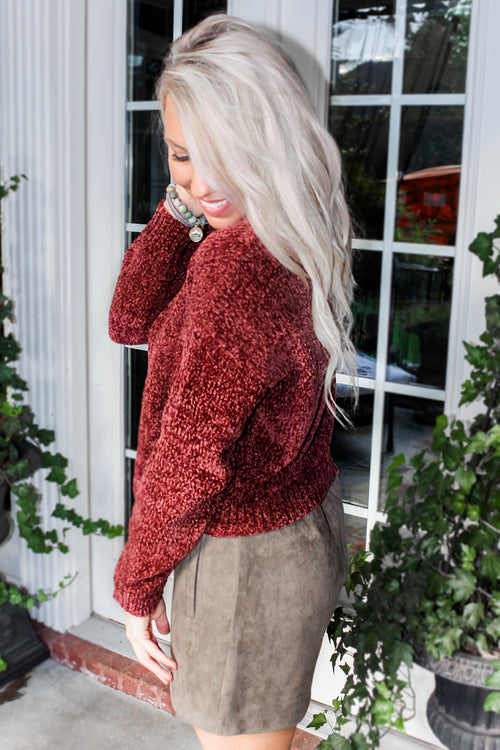 Christmas Kisses Chenille Cropped Sweater - Red Wine