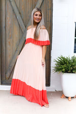 Color Block Pleated Off The Shoulder Maxi Dress - Shop Kendry Collection Boutique