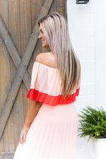 Just Peachy Pleated Off The Shoulder Maxi Dress