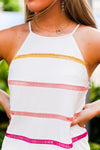 Colorful Striped White Shift Dress - Shop Kendry Collection Boutique