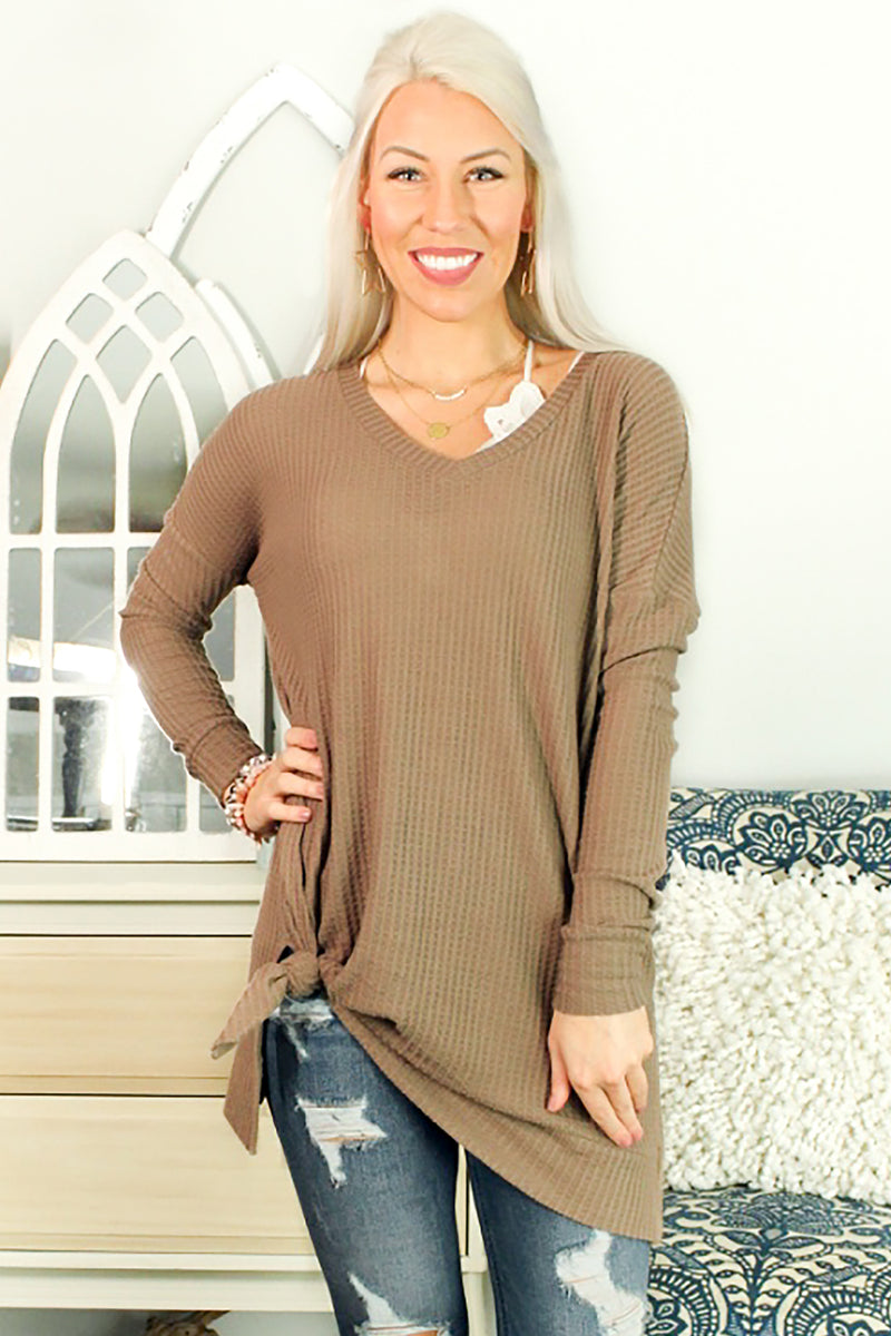 BRUSHED THERMAL WAFFLE LONG SLEEVE V-NECK SWEATER  - Mocha - Shop Tops For Women Now At Kendry Collection Boutique