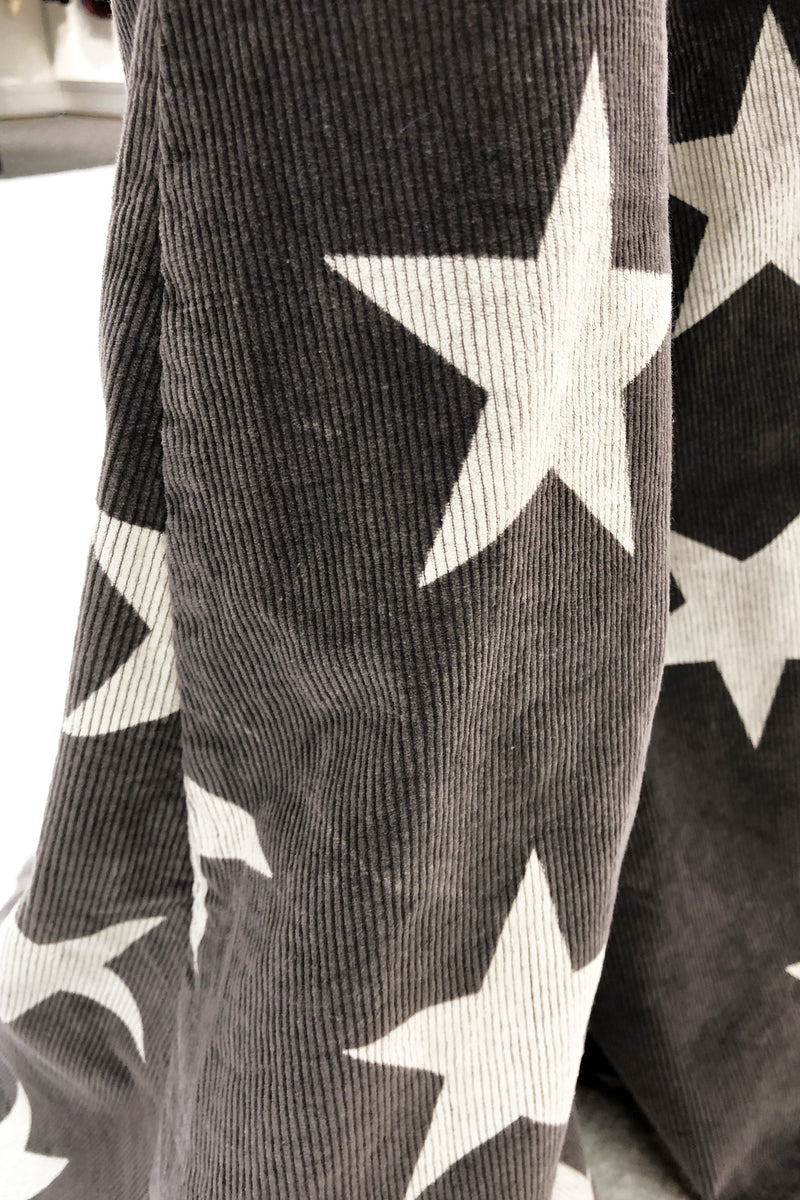 Corduroy Star Print Super Flare Pants - High Waisted Star Bell Bottoms - Charcoal - Kendry Collection Boutique