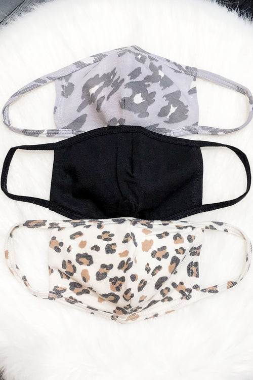 Grey/Blue Leopard Face Mask