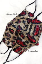 Crimson Red Leopard Sequin Face Mask - Shop Kendry Collection Boutique