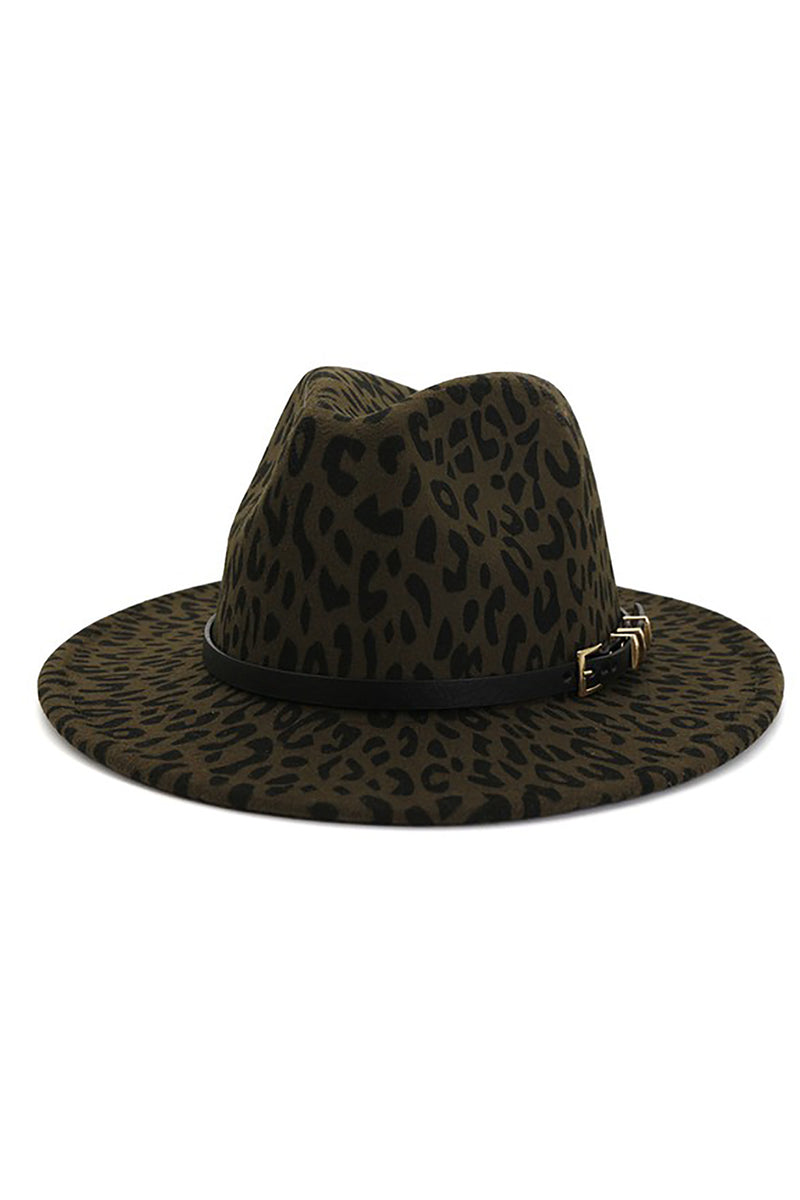 Olive Green Leopard Print Panama Hat - Shop Kendry Collection Boutique