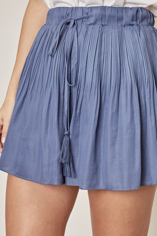 Denim Blue Pleated Drawstring Shorts