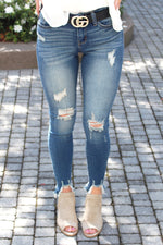 Judy Blue Destroyed Hem Skinny Jeans - Dark Wash - Kendry Collection Boutique