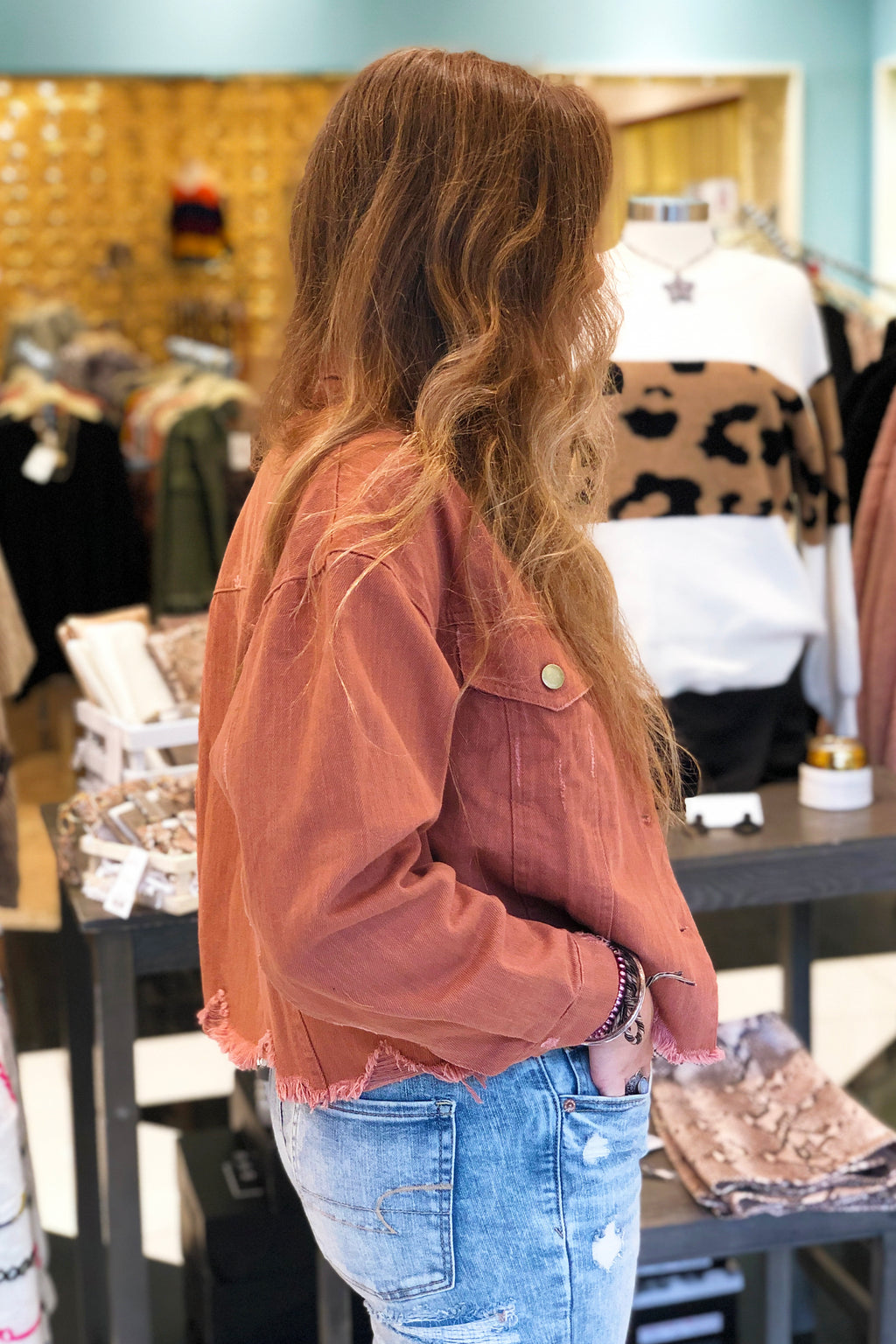 Distressed Cropped Denim Jacket - Cinnamon