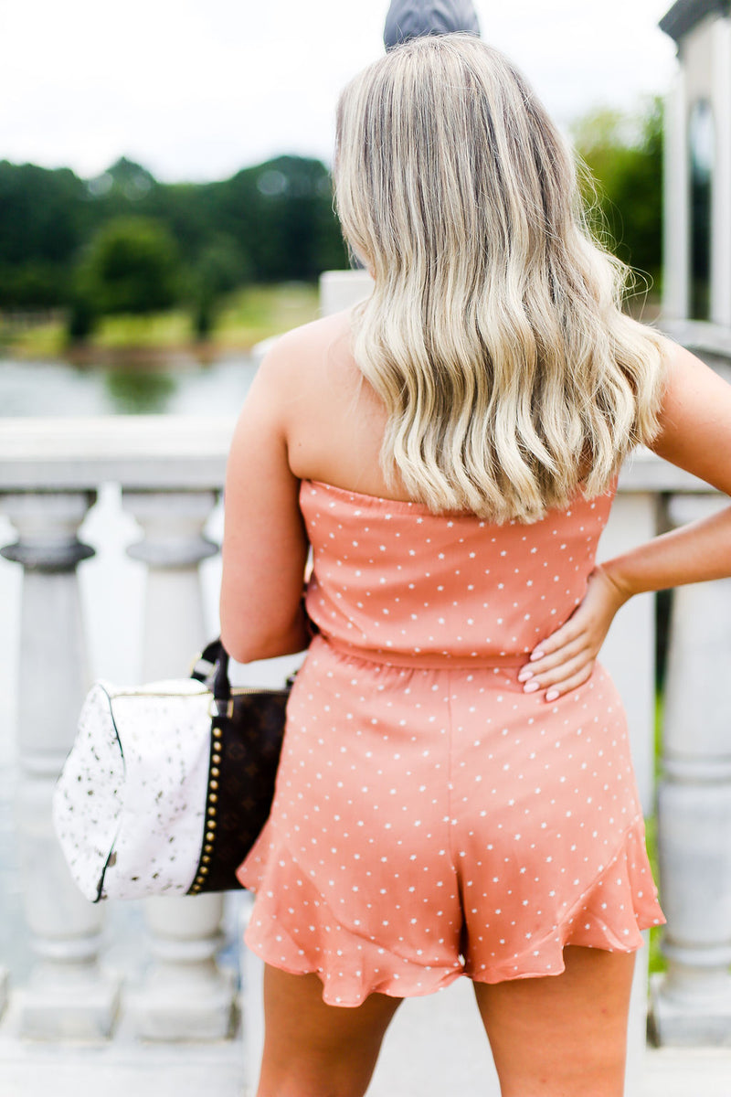 Dusty Peach Star Pattern Strapless Romper - Kendry Collection Boutique