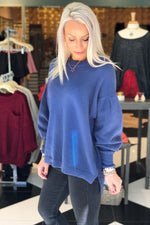 Eternal Love Puff Sleeve Sweater - Blue - Kendry Collection