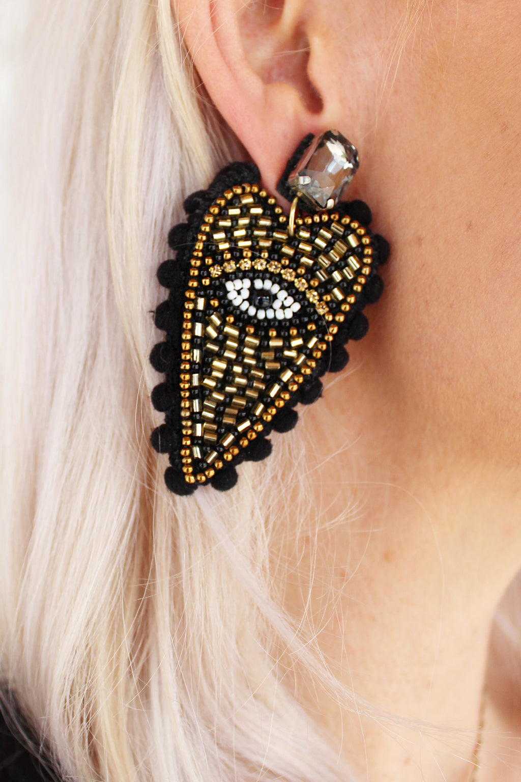 Black/Gold Beaded Heart Statement Earrings, Evil Eye Pom Pom Earrings - Shop Accessories For Women Now At Kendry Collection Online Boutique