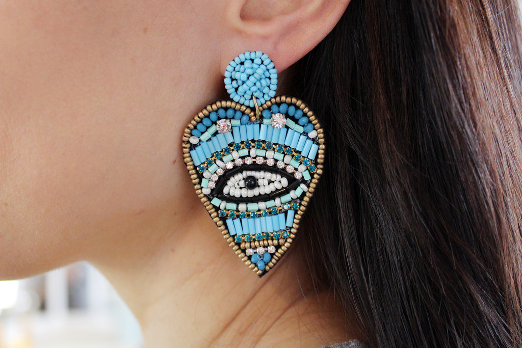 Evil Eye Beaded Heart Statement Earrings - Turquoise