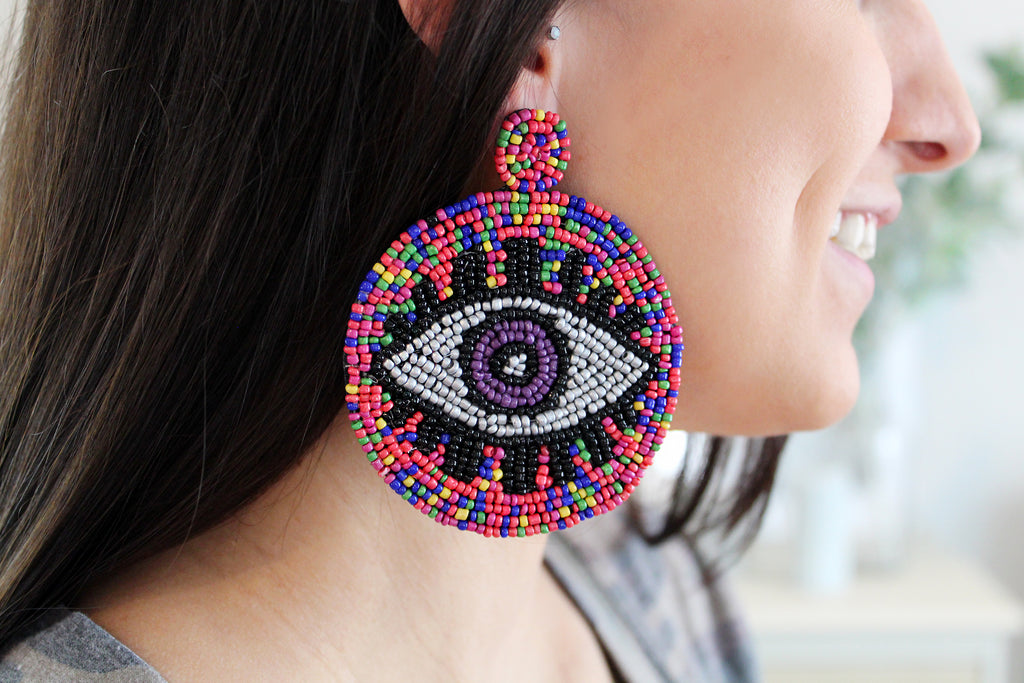 Evil Eye Seed Bead Round Statement Earrings - Pink/Multi