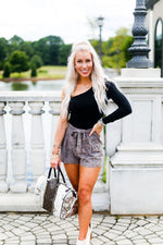 Faux Leather Brown Snake Skin Paper Bag Shorts