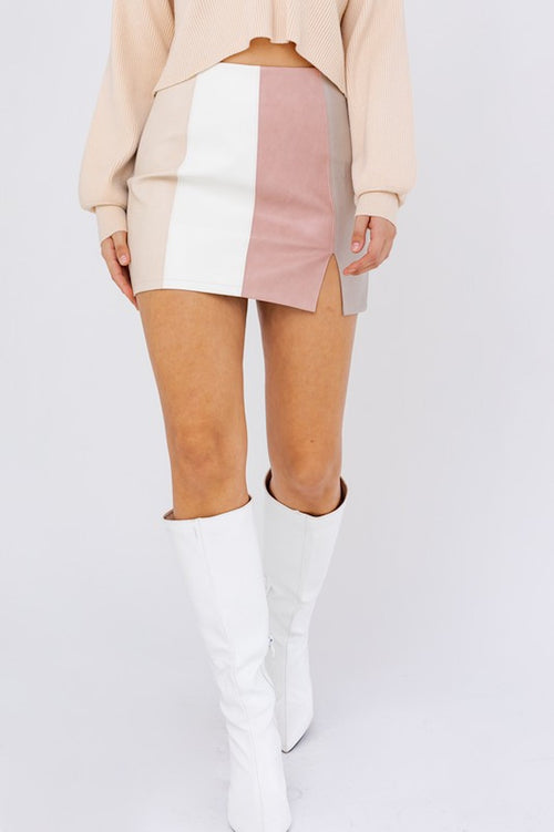 Faux Leather Pink Color Block Mini Skirt