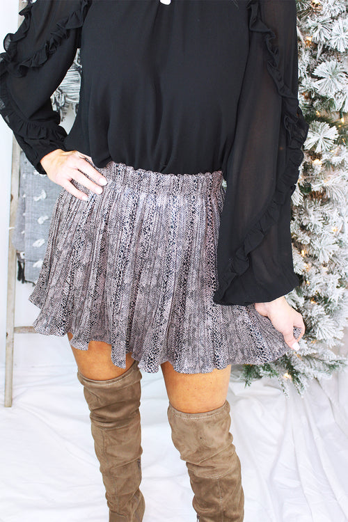 Faux Leather Pleated Snake Skin Mini Skirt - Shop Kendry Collection Boutique