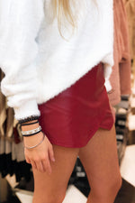 Faux Leather Envelope Skort - Red