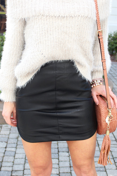 Faux Leather Round Hem Mini Skirt - Black - Kendry Collection Boutique