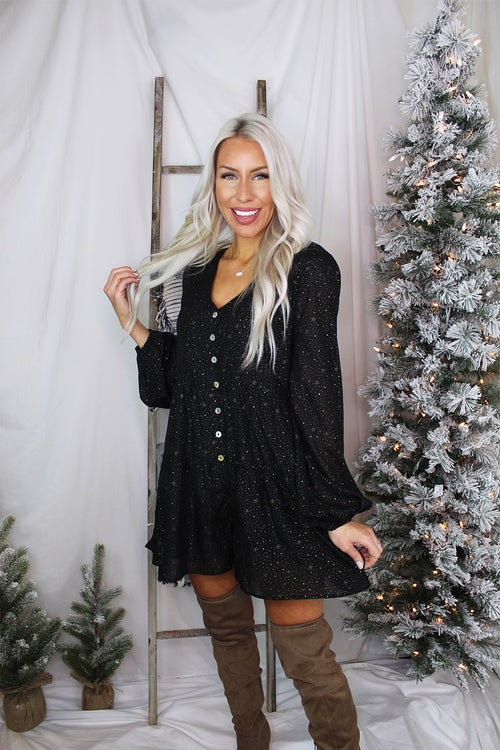 Flowy Black Romper With Gold Stars - Kendry Collection Online Boutique