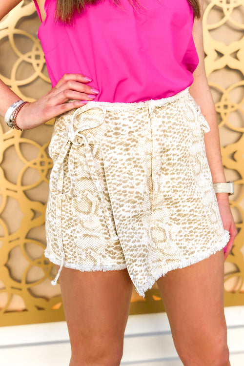 Frayed Snake Print Wrap Skort with Pockets - Kendry Collection Boutique