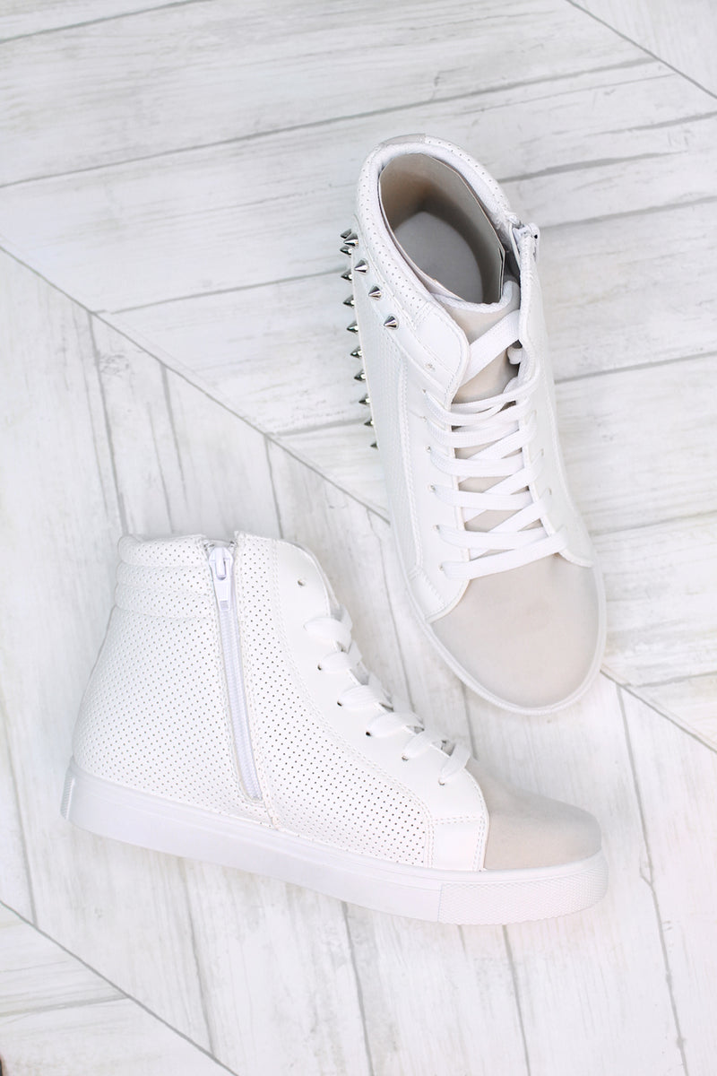 Freya White Studded High Top Sneaker- Kendry Collection Boutique
