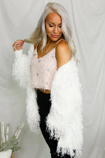 Fuzzy Pink Cropped Tank With Silver Stars- Kendry Collection Boutique